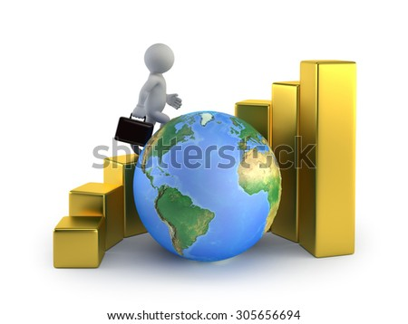 3d small people - global business growth - stock photo