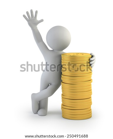 3d small people - gold coins - stock photo