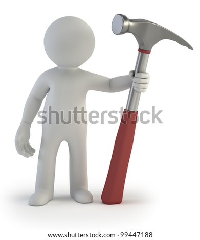 3d small people - hammer - stock photo