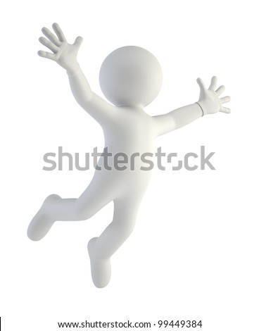 3d small people - happy jump in air - stock photo
