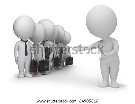 3d small people has resulted new clients. 3d image. Isolated white background. Clipping path included. - stock photo