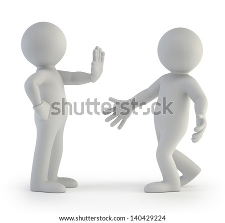 3d small people - I am fed - stock photo