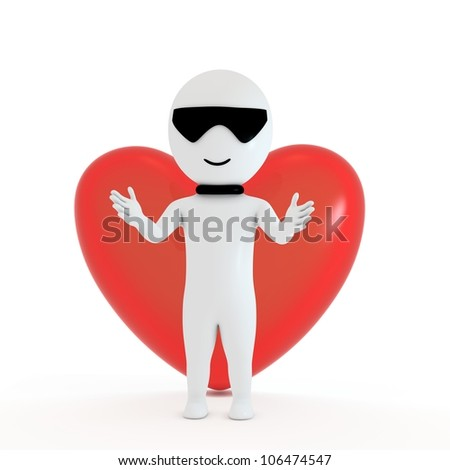 3d small people in love with love symbol background