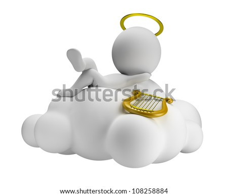 3d small people in paradise lies in a cloud with a harp. 3d image. Isolated white background. - stock photo