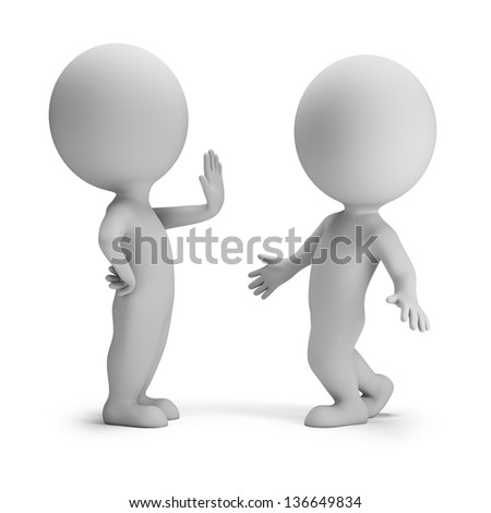 3d small people in stopping pose. 3d image. White background. - stock photo