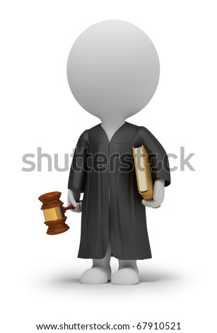 3d small people - judge in a cloak with a hammer and the book. 3d image. Isolated white background. - stock photo
