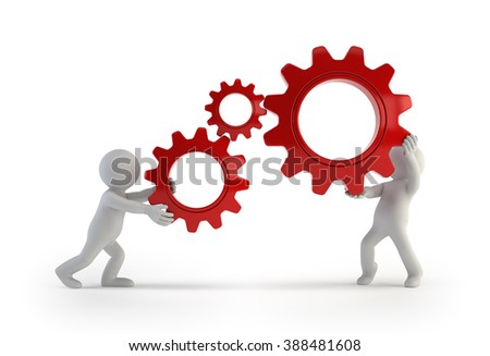 3d small people - keep gears in hands - stock photo