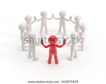3d small people - leader - stock photo
