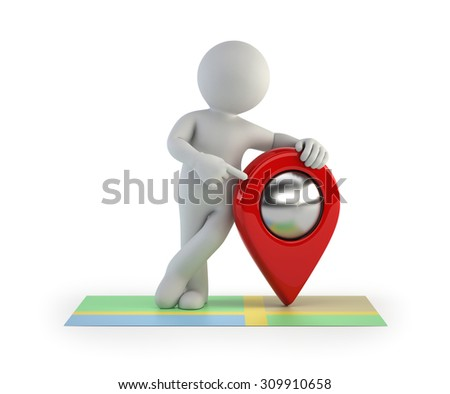 3d small people - location - stock photo