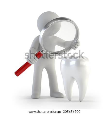 3d small people - Lupe tooth - stock photo