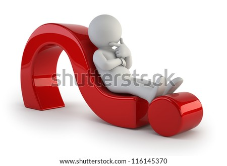 3d small people - lying on a question mark - stock photo