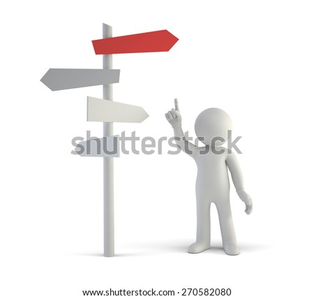 3d small people - make better decisions - stock photo