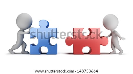 3d small people - male and female connecting puzzles. 3d image. White background. - stock photo