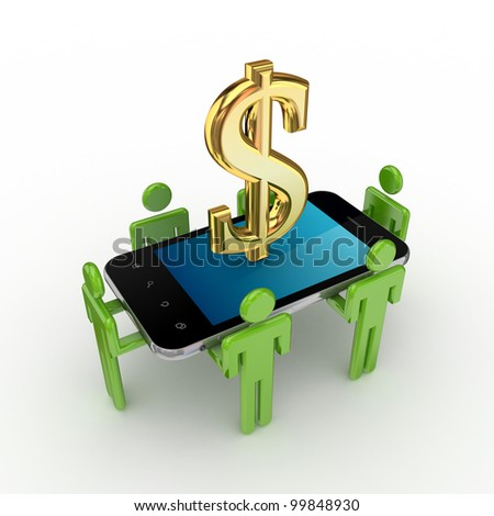 3d small people, modern mobile phone and dollar sign.Isolated on white background.3d rendered. - stock photo