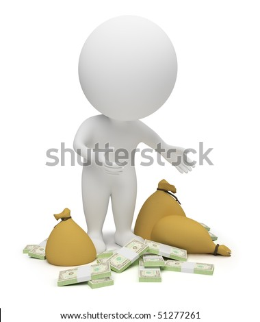 3d small people - packs of dollars and bags with money. 3d image. Isolated white background. - stock photo