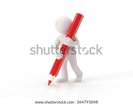3d small people - Pencil - stock photo