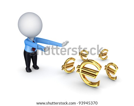 3d small people pulling hands to euro  signs.Isolated on white background.