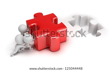 3d small people pushing big puzzle. 3d image. Isolated white background. - stock photo