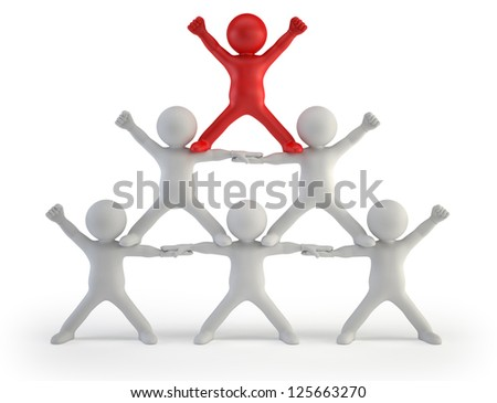 3d small people - pyramid of success - stock photo