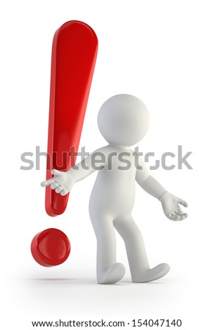 3d small people - red exclamation mark - stock photo