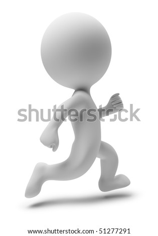3d small people running. 3d image. Isolated white background.