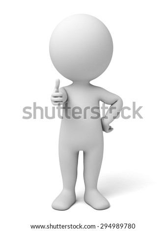 3d small people showing thumbs up. 3d image. Isolated white background. - stock photo