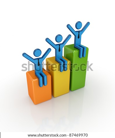 3d small people sitting on a colorful graph.Isolated on white background. - stock photo