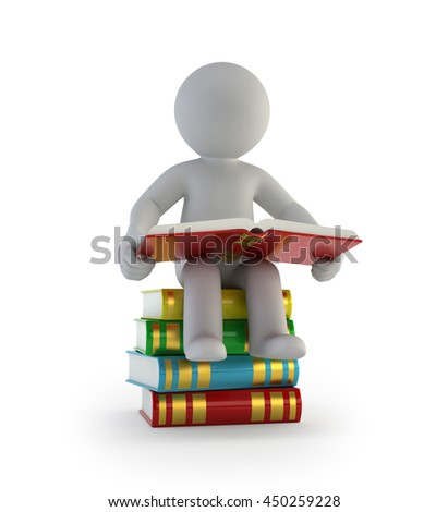 3d small people - sitting on the books - stock photo