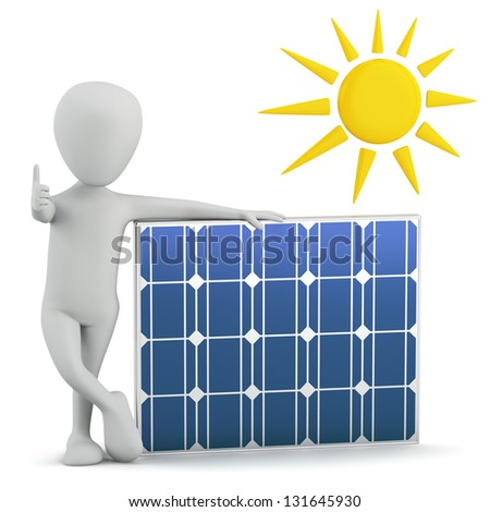 3d small people - solar panel. 3D image. On a white background.