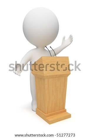 3d small people speaking from a tribune. 3d image. Isolated white background. - stock photo