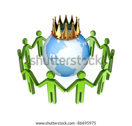 3d small people standing around the globe with a golden crown.Isolated on white background.