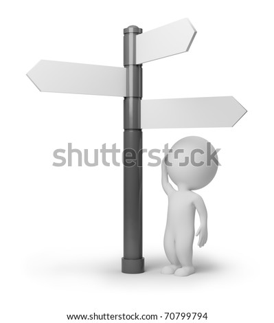3d small people standing in front of a roadsigns. 3d image. Isolated white background. - stock photo