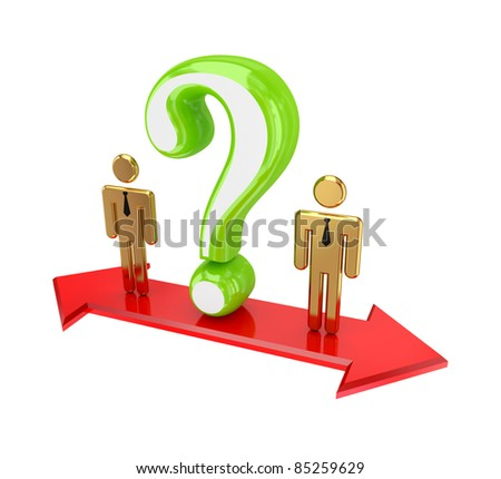 3d small people standing on a red double-sided arrow.Isolated on white background.