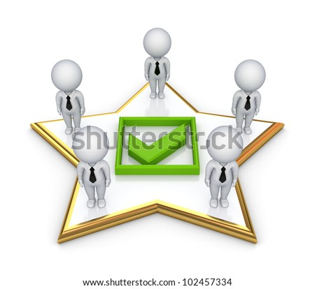 3d small people standing on a star around green tick mark.isolated on white background.3d rendered. - stock photo