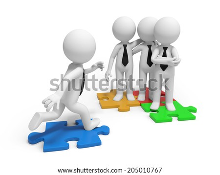 3d small people standing on some puzzles Isolated on white background