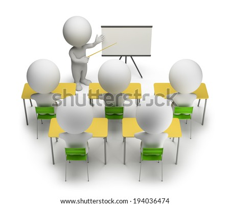 3d small people studying in training courses. 3d image. White background. - stock photo