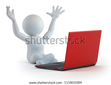3d small people - successful solution - stock photo