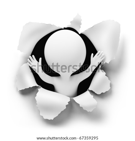 3d small people suddenly getting out of a hole. 3d image. Isolated white background. - stock photo