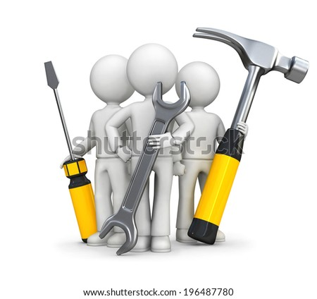 3d small people - super team. - stock photo