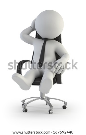 3d small people - supervisor manager in chair - stock photo