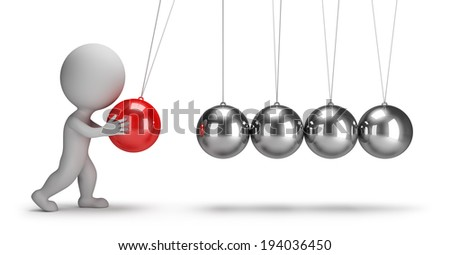 3d small people swaying pendulum Newton. 3d image. White background. - stock photo