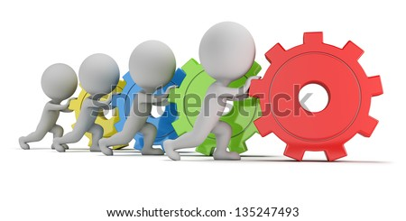3d small people - team with colorful gears. 3d image. White background.