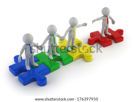 3d small people - teamwork colorful - stock photo