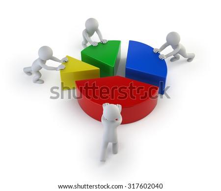 3d small people - teamwork statistics - stock photo