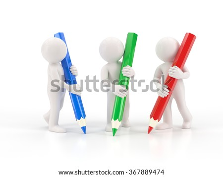 3d small people - three crayons - stock photo