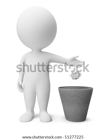 3d small people throwing dust in a garbage basket. 3d image. Isolated white background. - stock photo