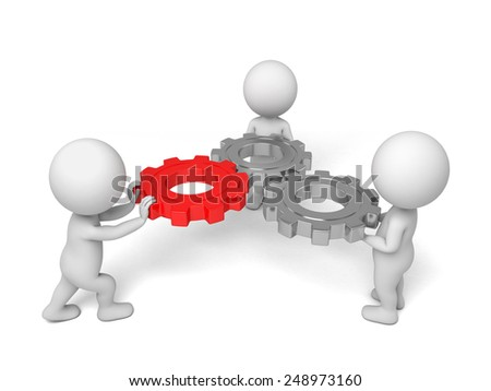 3d small people twist three gears. 3d image. White background.