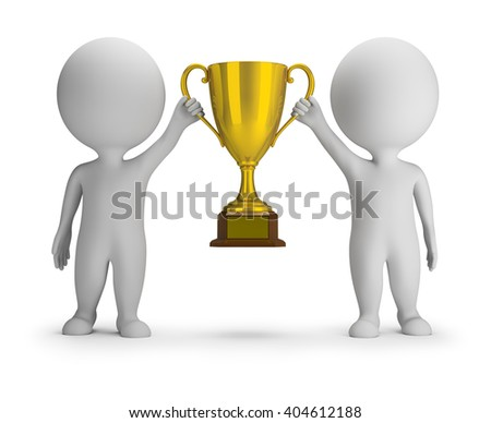 3d small people - two winners with a golden cup. 3d image. White background.