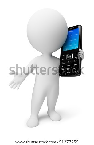 3d small people with a black mobile phone. 3d image. Isolated white background. - stock photo