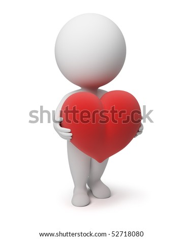 3d small people with a heart. 3d image. Isolated white background. - stock photo